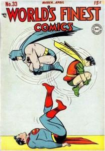 Superman, Batman and Robin do partner acro